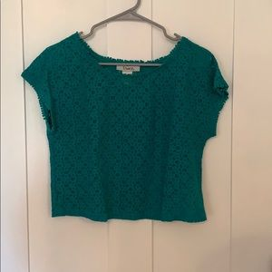 Teal green lace crop top